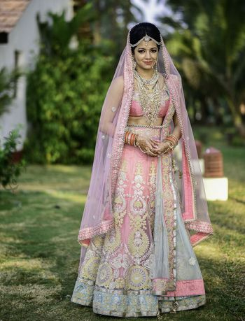 Light pink and grey lehenga for morning wedding