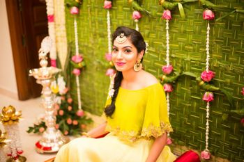 Mehendi outfit ideas with yellow off shoulder crop top