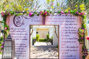 Fairytale theme storybook entrance decor idea