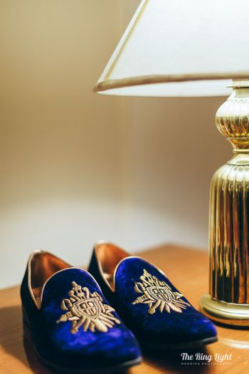Blue and gold embroidered shoes for groom
