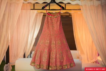 Coral lehenga with gold sequin work on hanger