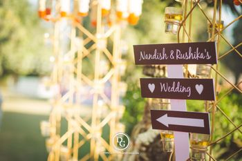 Wooden direction signboard for wedding
