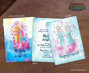 Caricature wedding card with watercolour effect in blue theme