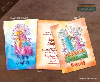 Caricature wedding card with watercolour effect