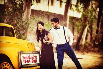 Save the date couple portrait