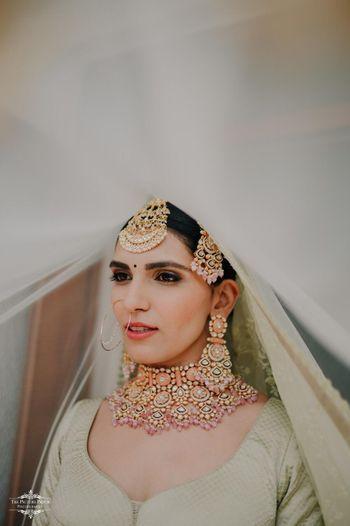 Bridal jewellery veil shot
