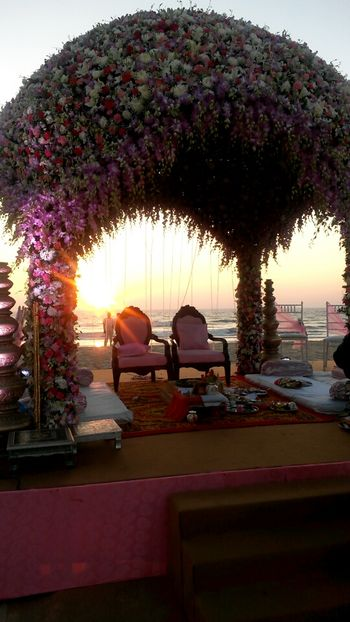 Photo of Destination wedding lavender theme floral mandap