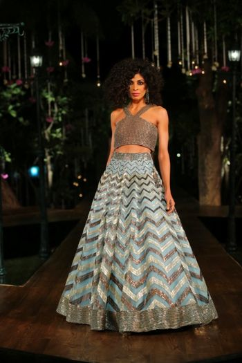 Photo of Chevron Mint blue lehenga with Silver embellished blouse
