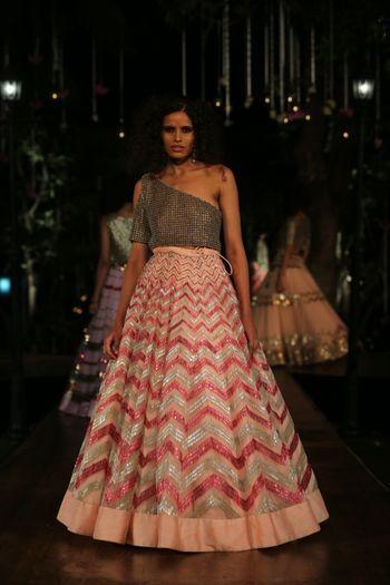 Photo of Pastel Girly Pink Chevron Lehenga
