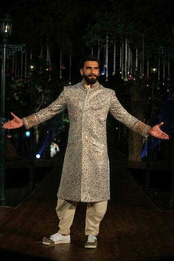 Embellished gold groom sherwani