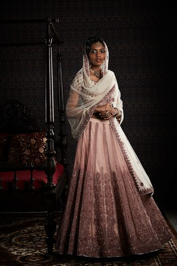 Pale pink lehenga with white dupatta