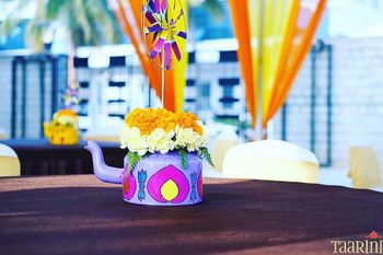 Funky and colorful tea kettle table centerpiece