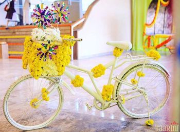 Floral bicycle prop for mehendi