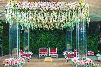 Outdoor floral mandap