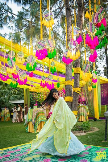 Photo of Hanging dreamcatchers from tree for mehendi decor