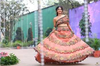 Summery peach lehenga with off shoulder blouse