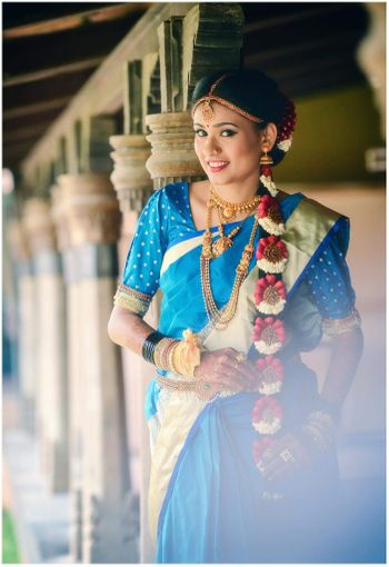 Smiling south indian bride shot