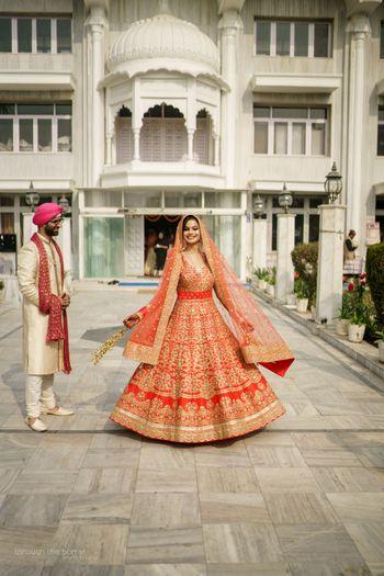 Twirling bride shot