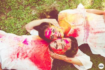 Holi theme pre wedding shoot