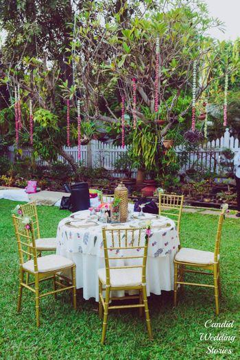 Elegant white and gold theme outdoor setting