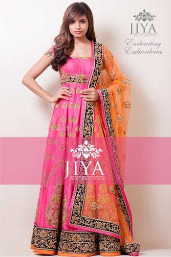 Photo of fuschia pink silk anarkali