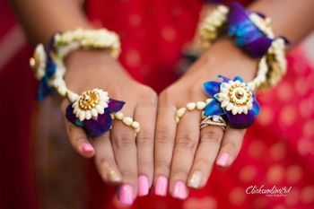 Pretty purple and blue orchids for haathpool for mehendi