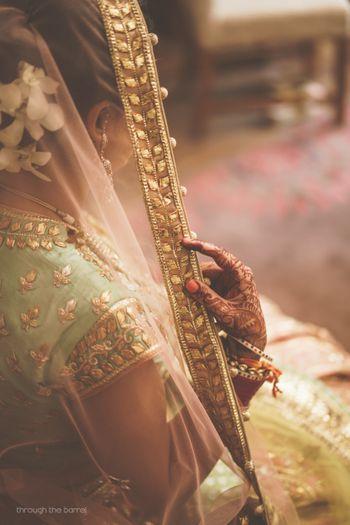Gota patti bridal dupatta with mint lehenga