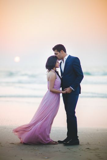 Photo of Sunset pre wedding shoot on beach