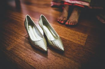 Photo of Silver bridal pointed shoes