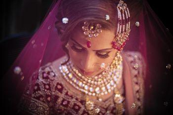 Stunning bride under veil shot