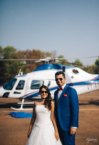 Photo of Pre wedding shoot with chopper