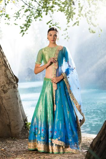 Green and blue Banarasi lehenga