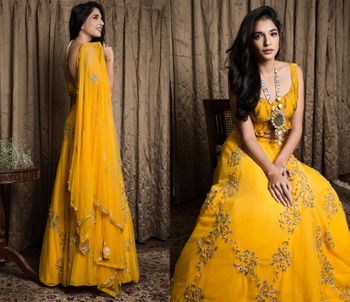 mustard yellow sleeveless anarkali