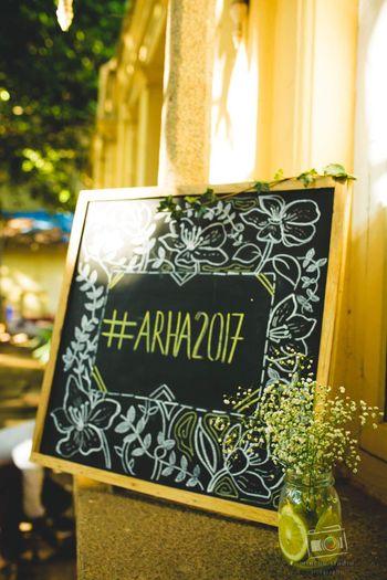 Chalkboard decor idea to display wedding hashtag