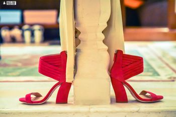 Red block heels bridal shoes