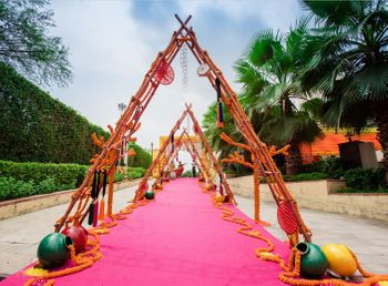 Tent shaped entrance decor idea for mehendi
