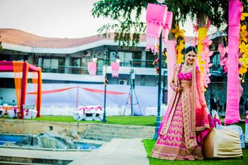 Photo of bright pink lehenga