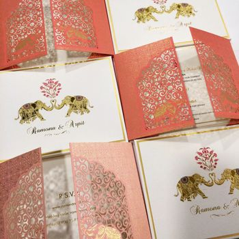 Elegant laser cut wedding invite