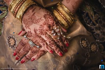 Bridal hands with unique engagement jewellery
