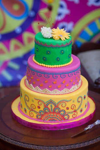 Unique colourful 3 tiered mehendi cake