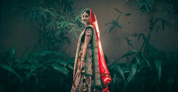 Photo of deep red bridal lehenga