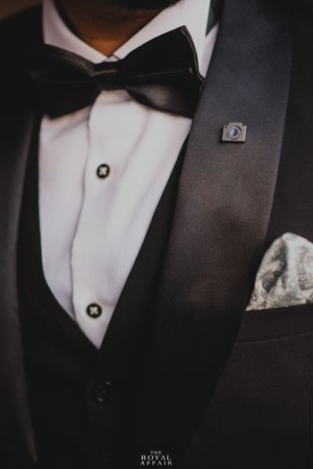 Unique groom accessory with camera lapel pin