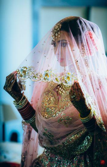 Beautiful bridal in veil shot