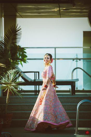 Happy bride twirling shot