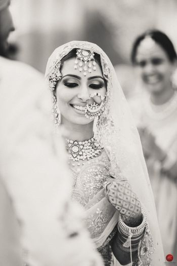 Candid bridal shot in black and white