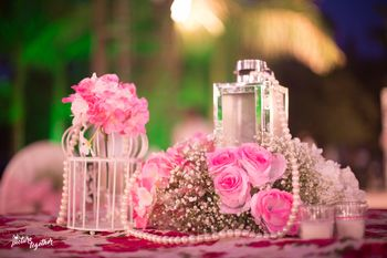 pretty table decor in pink and white
