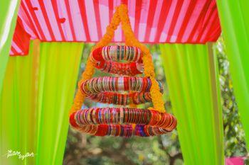 Bangle chandelier for mehendi decor