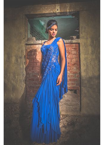 blue cocktail sari