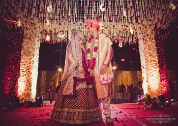 Romantic couple shot at mandap after pheras