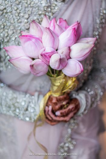 Unique bridal bouquet with tulips